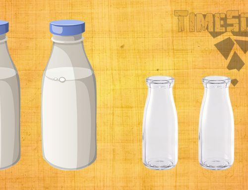 Four bottles with milk
